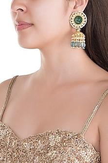 Gold Finish Kundan & Green Stone Jhumka Earrings by Belsi's Jewellery