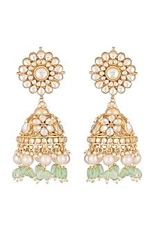 Gold Finish Kundan Big Jhumka Earrings by Belsi's Jewellery