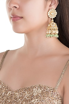 Gold Finish Kundan Big Jhumka Earrings by Belsi's Jewellery