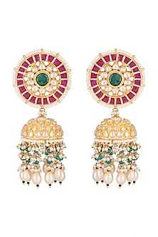 Gold Finish White & Green Kundan Jhumka Earrings by Belsi's Jewellery