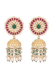 Gold Finish White & Green Kundan Jhumka Earrings by Belsi's Jewellery