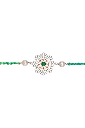 Gold & Silver Polish Beaded Rakhi by Belsi's Jewellery