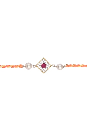 Gold & Silver Polish Beaded Silk Thread Rakhi by Belsi's Jewellery
