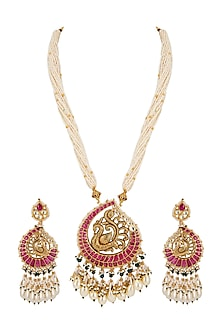 Gold Finish Peacock Pendant Necklace Set by Belsi's Jewellery