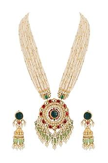 Gold Finish Kundan Pendant Necklace Set by Belsi's Jewellery