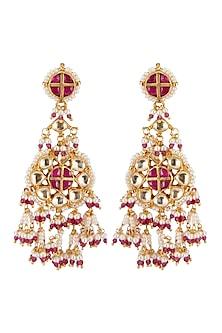 Gold Finish Floral Dangler Earrings by Belsi's Jewellery