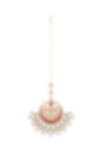 Gold Finish Red Kundan & Pearls Bridal Maang Tikka by Belsi's Jewellery