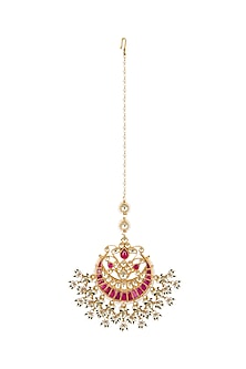 Gold Finish Red Kundan & Pearls Bridal Maang Tikka by Belsi's Jewellery
