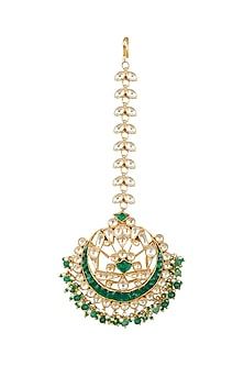 Gold Finish Green Kundan & Pearls Bridal Maang Tikka by Belsi's Jewellery
