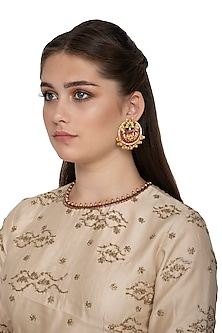 Gold Finish Red Kundan Stud Earrings by Belsi's Jewellery
