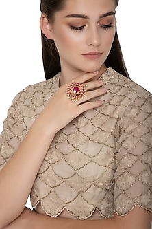 Gold Finish Ruby Red Kundan Floral Ring by Belsi's Jewellery