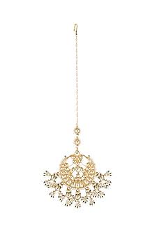 Gold Finish Kundan & Pearls Maang Tikka by Belsi's Jewellery