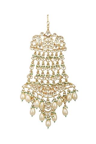 Gold Finish Kundan & Pearls Passa by Belsi's Jewellery