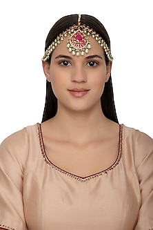 Gold Finish Kundan & Pearls Lotus Motif Bridal Matha Patti by Belsi's Jewellery