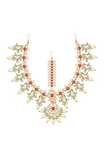 Gold Finish Kundan & Pearls Floral Motif Bridal Matha Patti by Belsi's Jewellery