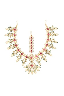 Gold Finish Kundan & Pearls Floral Motif Bridal Matha Patti by Belsi's Jewellery