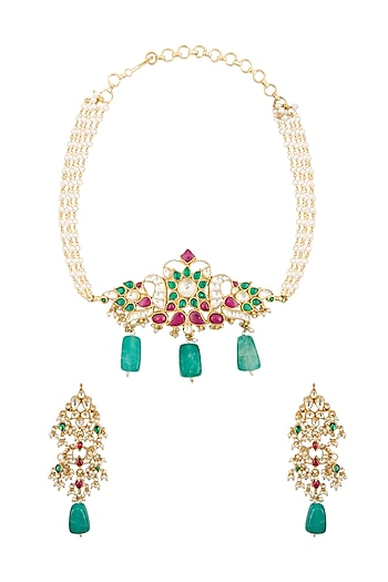 Gold Finish Kundan Choker Necklace Set by Belsi's Jewellery