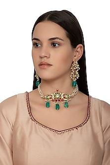 Gold Finish Kundan Choker Necklace Set by Belsi's Jewellery