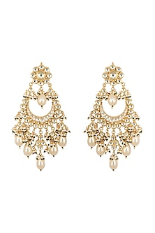 Gold Finish White Kundan Earrings by Belsi's Jewellery