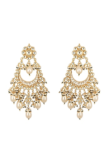 Gold Finish White Kundan Earrings by Belsi's Jewellery