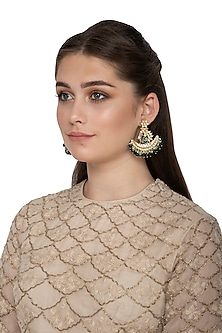 Gold Finish Handcrafted Peacock Earrings by Belsi's Jewellery