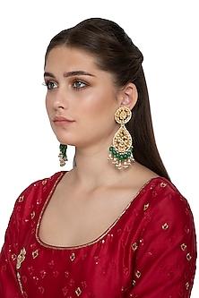 Gold Finish Kundan Dangler Earrings by Belsi's Jewellery