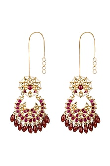 Gold Finish Red Kundan & Beads Chandbali Earrings by Belsi's Jewellery
