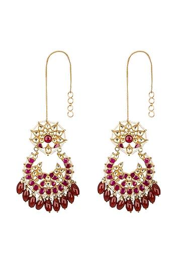 Gold Finish Red Kundan & Beads Chandbali Earrings by Belsi's Jewellery