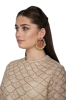 Gold Finish Red Kundan Bridal Chandbali Earrings by Belsi's Jewellery