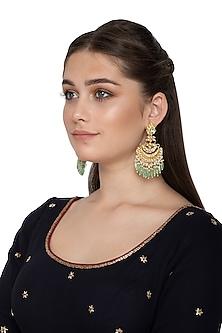 Gold Finish Kundan Mint Green Dangler Earrings by Belsi's Jewellery