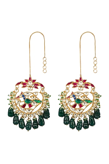 Gold Finish Multi Colored Kundan Peacock Chandbali Earrings by Belsi's Jewellery