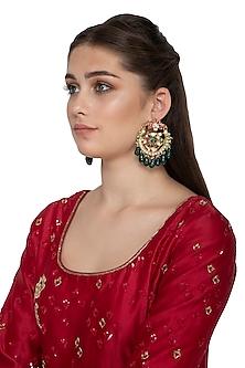 Gold Finish Multi Colored Kundan Peacock Chandbali Earrings by Belsi's Jewellery