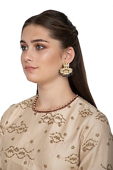 Gold Finish Earrings With White Kundan by Belsi's Jewellery