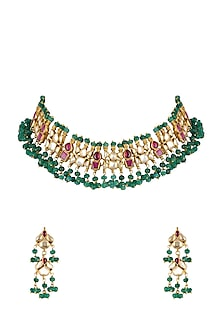 Gold Finish Kundan & Pearl Necklace Set by Belsi's Jewellery