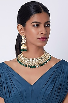Gold Finish Kundan Necklace Set by Belsi's Jewellery