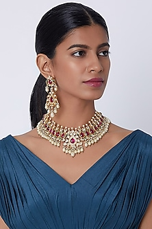 Gold Finish Pearl Necklace Set by Belsi's Jewellery