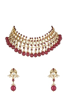 Gold Finish Pearl & Kundan Necklace Set by Belsi's Jewellery-JEWELLERY ON DISCOUNT