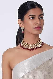 Gold Finish Pearl & Kundan Necklace Set by Belsi's Jewellery