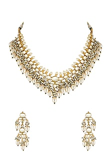 Gold Finish Kundan Necklace Set by Belsi's Jewellery-JEWELLERY ON DISCOUNT