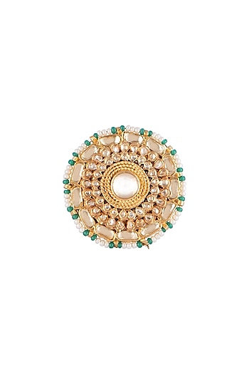 Gold Finish Bead & Kundan Ring by Belsi's Jewellery