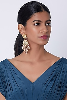 Gold Finish Kundan Earrings by Belsi's Jewellery