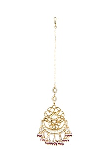 Gold Finish Kundan Maang Tikka by Belsi's Jewellery