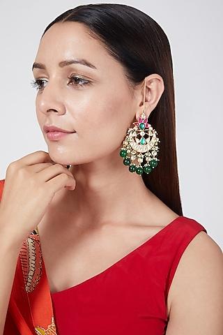 Gold Finish Beaded Chandbali Earrings by Belsi'S Jewellery