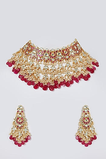 Gold Finish Floral Choker Necklace Set by Belsi'S Jewellery