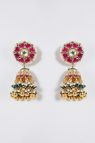 Gold Finish Kundan Jhumka Earrings by Belsi'S Jewellery