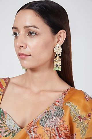Gold Finish Peacock Jhumka Earrings by Belsi'S Jewellery