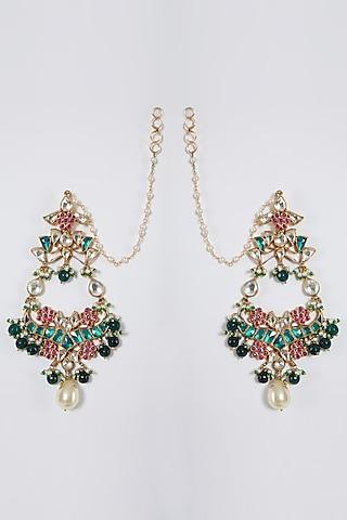 Gold Finish Pearl Dangler Earrings by Belsi'S Jewellery