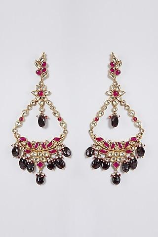 Gold Finish Pearl & Kundan Dangler Earrings by Belsi'S Jewellery