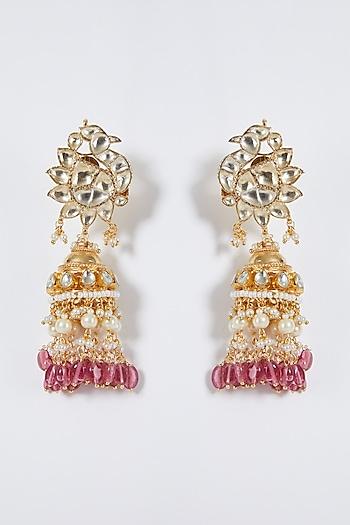 Gold Finish Kundan Peacock Jhumka Earrings by Belsi'S Jewellery