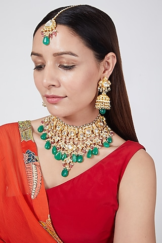 Gold Finish Bridal Necklace Set by Belsi'S Jewellery